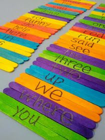 Sight word popsicle stick puzzles. Fun idea!
