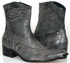 Good Men's COWBOY Designer BOOTS Western Grey Shoes
