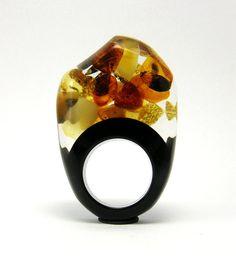 Amber and Black Resin Ring modelS3 by Sisicata