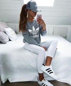 Fashion - White Jeans, Grey adidas Sweater/Jacket, White Originals Superstar, Grey Hat/Cap, High Pony