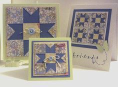"""handmade quilt cards from Lil Bit Of Me ... three formats for the same design .... 3X3"""" ,5X5"""" and A2 ... variation of the nine-patch pattern .... luv them!!"""