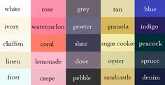 Color Thesaurus - to help you name any color imaginable. Ingrid Sundberg, a writer and children's book illustrator, created a very useful infographic chart for anyone struggling with color names. http://ingridsnotes.wordpress.com/2014/02/04/the-color-thesaurus/