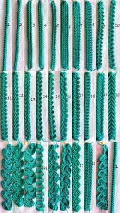 If you looking for a great border for either your crochet or knitting project, check this interesting pattern out. When you see the tutorial you will see that you will use both the knitting needle and crochet hook to work on the the wavy border. Crochet Cord, Crochet Motifs, Crochet Borders, Crochet Stitches Patterns, Freeform Crochet, Crochet Trim, Irish Crochet, Easy Crochet, Crochet Lace