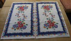 Vintage Linen Floral Dishtowel Runner in Mint, Unused Condition
