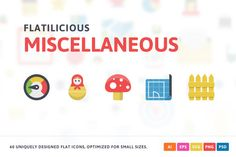 Miscellaneous Flat Icons by Pixel Bazaar on @creativemarket
