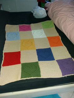 Coperta di lana con mattonelle schema cuore punto Pon Pon