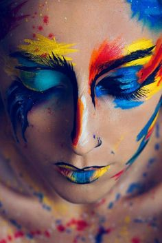 Pin by swearing hippie on painted ladies in 2019 make up art, creative make Paint Photography, Creative Photography, Makeup Photography, Maquillage Halloween, Halloween Makeup, Make Up Art, How To Make, Creative Makeup Looks, High Fashion Makeup