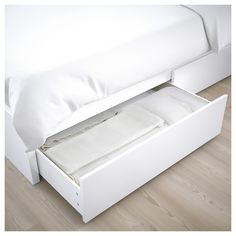 IKEA - MALM, High bed storage boxes, white, Ample storage space is hidden neatly under the bed in 4 large drawers. Perfect for storing quilts, pillows and bed linen. The storage boxes are easy to roll out and in thanks to the castors on the base. High Bed Frame, Malm Bed Frame, Bed Frames, Bed With Drawers, Large Drawers, Bed Frame With Storage, Storage Box On Wheels, Hemnes Bed, High Beds