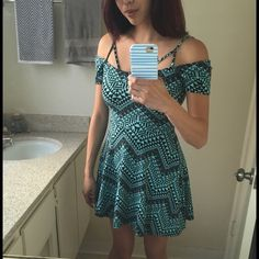 Gorgeous strappy skater patterned dress from UO Sparkle & Fade brand from Urban Outfitters. Size small. Great pattern and design with strappy look and off the shoulder sleeves. Great straps shown in the back too! Super cute look for the summer and very comfortable too! I am 5'6, 118lbs, and 32C/D for reference. Sparkle & Fade Dresses