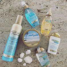 Love these sun, sand & ocean-inspired hair products from OGX Beauty! The Coconut Water Shampoo and Conditioner smell divine!