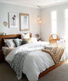 Scandi inspired master bedroom. Neutral colour tones. Vintage bassinet Baby Girl Bassinet, Master Bedroom, Bedroom Decor, Bedroom Ideas, Bedroom Inspiration, Ikea, Neutral Bedrooms, Mid Century House, Black Decor