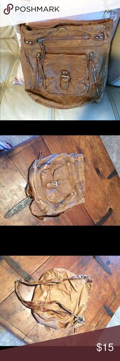 💎new Arrival Mossimo Hobo Bag Trendy Mossimo Supply Co brown leather Boho bag-shoulder strap -zippered pockets on outside very clean no stains very good care -distressed hobo look is the style Mossimo Supply Co Bags Hobos