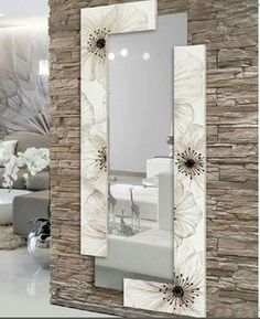 Awesome ideas for decorating the hallway with modern wall mirror designs, home interior wall mirror decor ideas for modern style apartments 2019 Interior Walls, Home Interior Design, Interior Decorating, Stone Interior, Living Room Designs, Living Room Decor, Spiegel Design, Ceiling Design, Entryway Decor