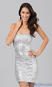 Buy Short Strapless Sequin Dress at SimplyDresses