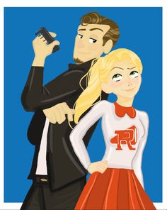 Rapunzel and Flynn Rider in Grease as Sandy and Danny