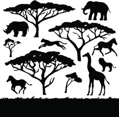 Illustration about African trees and animals, set of black silhouettes. Illustration of trip, tree, wildlife - 42478523