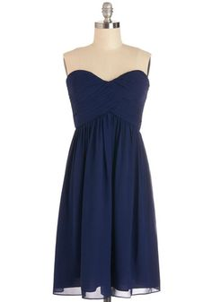 Flirting With the Idea Dress in Navy - Prom, Wedding, Bridesmaid, Homecoming, Short, Chiffon, Woven, Blue, Solid, Ruching, Special Occasion, Strapless, Variation, Sweetheart