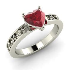 Natural Ruby White Gold Heart Ring - Jewelry By Diamondere | eBay