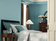 Calming Tone    The calming property of blue is often associated with its soothing presence in nature. Making it the perfect color for the bedroom, to relax you at days end for a peaceful nights sleep.