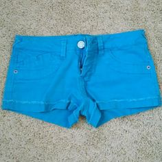 Vibrant Bright Blue Denim Shorts These denim shorts are a such a fun, vibrant and bright shade of blue! They are 98% cotton and 2% spandex, so they are stretchy and quite comfortable. They are pre-loved but in great shape and looking for a good home where they will get lots of wear! Purchase these in time for Spring Break! Mossimo Supply Co. Shorts Jean Shorts