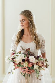 modest wedding dress with elbow sleeves from alta moda bridal (modest bridal gowns) photo by @mikkiplatt