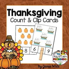 This is a set of 40 cute, Thanksgiving themed math cards designed to help young learners practice counting and number recognition to 18.**It is just one of the great activities included in this Thanksgiving Centers and Circle Time Unit. Click HERE to view.**https://www.teacherspayteachers.com/Product/Thanksgiving-Preschool-Centers-and-Circle-Time-2186024---------------------------Just print, mat, laminate and cut apart.