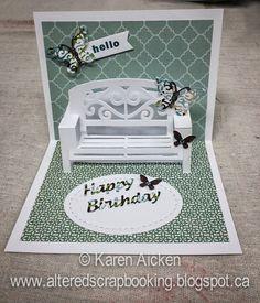 Altered Scrapbooking: Butterflies and Bench Birthday Card for ECD using Karen Burniston dies; July 2014