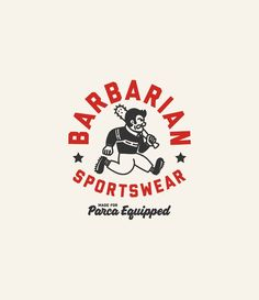 "The post ""Barbarian Sports Logo Design"" appeared first on Pink Unicorn Logo Logo Inspiration, Logo Branding, Branding Design, Typography Design, Lettering, Old School Cartoons, Clothing Logo, Badge Design, Monogram Logo"