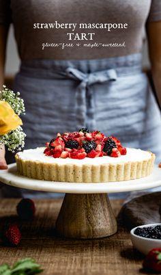 Maple Sweetened Strawberry Mascarpone Tart - Almond Flour Tart Crust filled with Mascarpone Whipped Cream