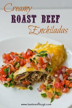Creamy Roast Beef Enchiladas by Tastes of Lizzy T's. I've been in the mood for Mexican lately. I love a good creamy, spicy Mexican dish. This Creamy Roast Beef Enchiladas recipe is one of my favorites. Roast Beef Enchiladas, Roast Beef Burritos, Roast Beef Casserole, Beef Fajitas, Chicken Enchiladas, Beef Dishes, Food Dishes, Main Dishes, Food Food