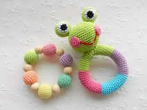 Frog Baby Toy Rattle Baby teether Set of 2