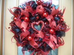 Red and Black Deco Mesh Valentines Door Wreath