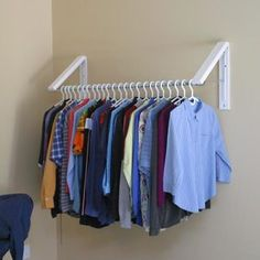 TEMPORARY/SEMI-PERMANENT/PERMANENT. FOLDAWAY HANGING RAIL. QUIKCLOSET. | eBay For the spare room.
