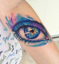 Eye watercolor tattoos, forearm tattoos for woman, tattoo designs