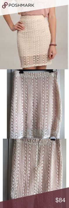 Free People Cream Colored Crochet Skirt Gorgeous skirt by Free People. Has a dusty pink liner underneath the skirt. Zipper in back. Has a loose area of crochet near the waistband. Look to the right of the garment label on the waistband. The lose Crochet is barely noticeable. Zoom into size chart to see size measurements. #5131707 Free People Skirts