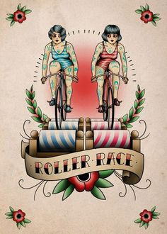 Roller race bike tattoo