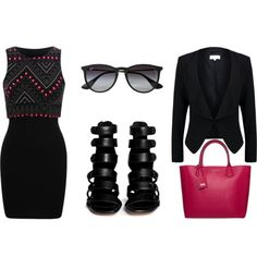 Black by loadston-e on Polyvore featuring мода, Patrizia Pepe, 10 Crosby Derek Lam, Karl Lagerfeld, Ray-Ban, Beauty, black, dress and beoriginal