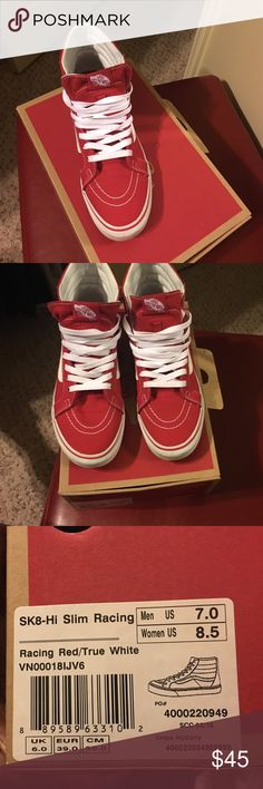 a939dc5364 High top vans slim racing red and true white van sneakers. barely worn  because i bought the wrong size 🙄 Vans Shoes Sneakers