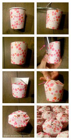 Een doosje gemaakt van een kartonnen bekertje! (how-to giftbox made of a cardboard cup)