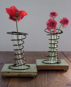 reclaimed wood, old bed springs, glass test tubes = vases. (secure with metal staples); could put multiples on longer piece of wood