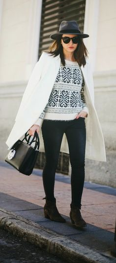 New look Sweater , Old White Coat and Perfect Hat | Causal Street Outfits