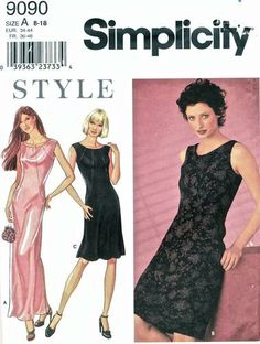 Simplicity Pattern 9090 Style Evening or Cocktail Elegant Gown - Little Black Dress