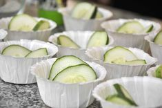 cucumbers in cupcake liners.  Use these for over the girls' eyes, or have some ranch at the bottom for an appetizer.
