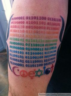 """Eric, an IT director, got this binary tattoo in something other than the typical black. Would you be surprised to find out it says ""All men and women are created equal""? This is awesome and I think one of the first geeky pride tattoos I've posted on here. Thanks for sharing Eric!"" - www.geekytattoos.com"