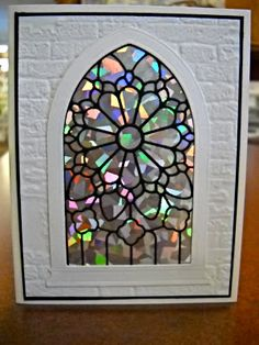 Lime Scraparita with a twist: Gothic Arch Window from Memory Box