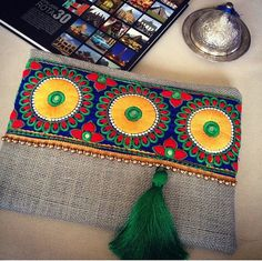 Embroided bag, clutch purse, womens bag, bohemian clutch, boho style