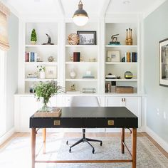 I can only dream of the day we get to transform my office. I'm not sure how it ended up as one of the last rooms on the list to tackle! Regardless, if you're updating your workspace on a budget- check the blog today for desk & chair combos under $500. photo / design: @braunadams    #Regram via @sargibs