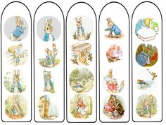 Peter Rabbit bookmarks digital download, lovable Beatrix Potter character by DreamscapeDigitals on Etsy