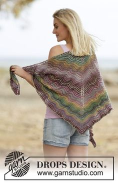 "Knitted DROPS shawl with wave pattern and stripes in ""Delight"". ~ DROPS Design"