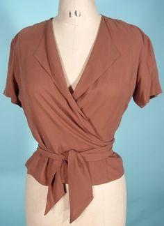 1970's CALVIN KLEIN Silk Wrap Blouse